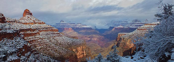 View from the Bright Angel Trail during a winter storm