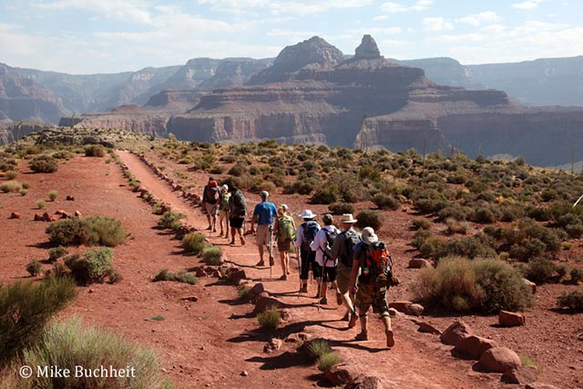 Grand Canyon Field Institute Class hikes across Mormon Flat on the South Kaibab Trail | Photo by Mike Buchheit