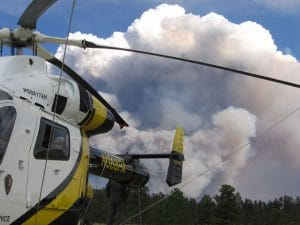 Helicopter at the Warm Fire | Photo courtesy of National Park Service