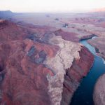 Aerial View of Glen Canyon showing angles of rock layers | Photo by Gary Ladd