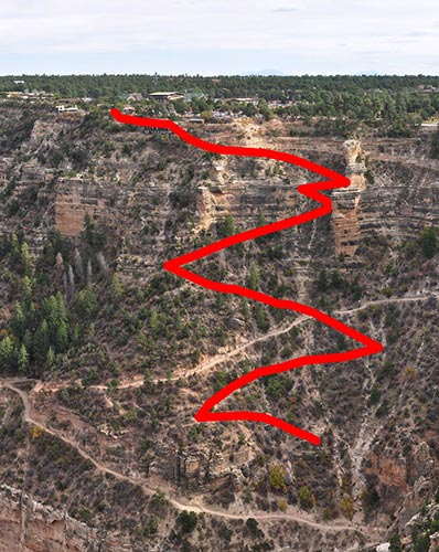 Closeup of historic Cameron Trail vs. current Bright Angel Trail