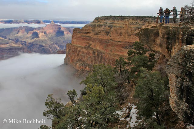 A beautiful, rare weather phenomenon, an inversion, blankets the Grand Canyon | Photo by Mike Buchheit