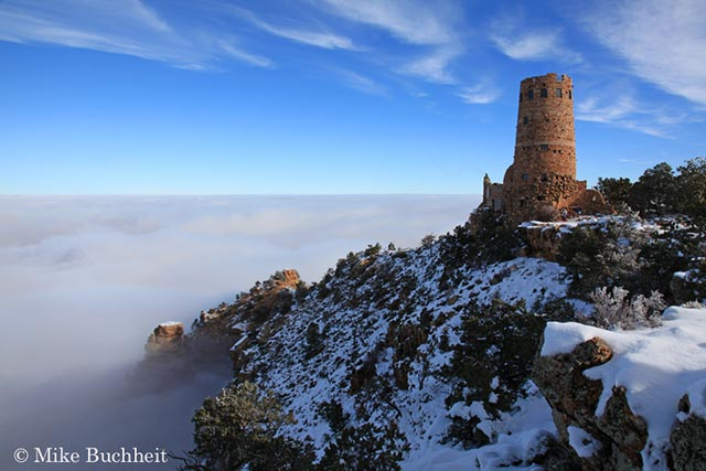 Desert View Watchtwer during an inversion | Photo by Mike Buchheit