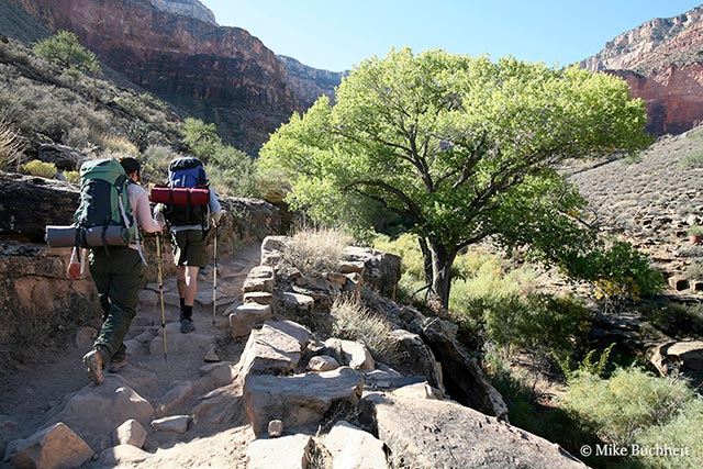Hikers in the Tapeats Narrows below Indian Garden on Bright Angel Trail | Photo by Mike Buchheit