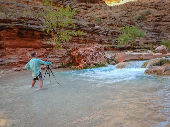 Mike capturing the turquoise magic of Havasu Creek | Photo by Zina Mirsky