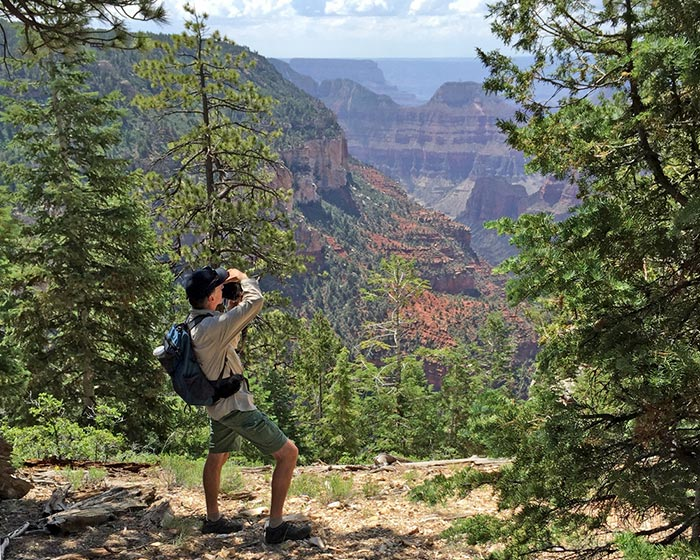 Author/photographer Mike Buchheit taking photos from North Rim