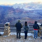 Visitors enjoy the view from Yavapai Point during park partial shutdown. | Photo by Mike Buchheit