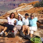Sally Underwood (on right) with group at Grand Canyon